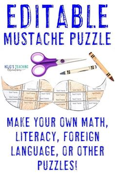 This EDITABLE mustache puzzle is a wonderful way to celebrate grandpa or any special man in a child's life this Grandparent's Day. Click to see some great card ideas, books to read, puzzle activities, 5th Grade Classroom, Middle School Classroom, Classroom Games, Classroom Decor, Teaching Math, Math Literacy, Grandparents Day Activities, Fluency Practice, Halloween Math