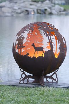 Up North Round Custom Fire Pit Art: Moose Deer Duck Designs