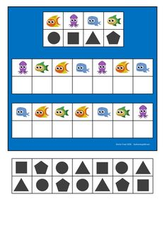 Board and tiles for the sea animal visual perception game. By Autismespektrum Dyslexia Activities, Preschool Learning Activities, Preschool Activities, Visual Perception Activities, Teaching Shapes, Printable Preschool Worksheets, Coding For Kids, Kids Education, Kids And Parenting