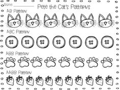 The Groovy Teacher: Pete the Cat Patterns and a Math Freebie. Students can practice making an AB pattern, ABC, ABB, AABB pattern Preschool Math, Kindergarten Activities, Teaching Math, Book Activities, Maths, Numeracy Activities, Preschool Books, Preschool Worksheets, Christmas Activities