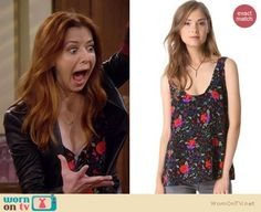 Lily's floral print top and black leather blazer on How I Met Your Mother. Outfit Details: http://wornontv.net/19731 #HowIMetYourMother #CBS