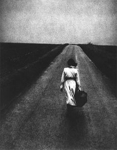 A woman with suitcase. Edward Dimsdale - Road, East of England, Autumn, 1997 Black and white photo. Where Have You Gone, Ex Machina, Independent Women, Loneliness, Solitude, Black And White Photography, My Eyes, Decir No, Art Photography