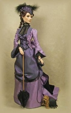 I know this is a Barbie, but I think the dress design is great. 1800s Fashion, Victorian Fashion, Victorian Dolls, Antique Dolls, Barbie Dress, Barbie Clothes, Ooak Dolls, Art Dolls, Poppy Parker