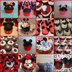 Mickey and Minnie Mouse cupcake décor ideas. Mickey Mouse Cupcakes, Minnie Cake, Kid Cupcakes, Birthday Cupcakes, Buttercream Cupcakes, Disney Cakes, Disney Food, Disney Mickey, Mickey Party