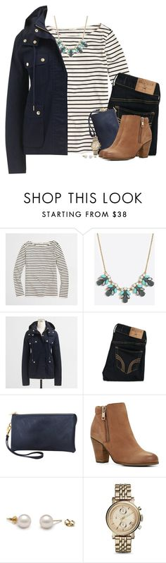"""J.Crew navy jacket, stripes & statement necklace"" by steffiestaffie ❤ liked on Polyvore featuring J.Crew, Hollister Co., Humble Chic, ALDO and FOSSIL"