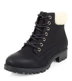 Black Shearling Trim Lace Up Boots