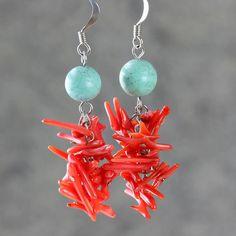 Corail turquoise lustre long d'oreilles mode jeune nous livraison gratuite à la main Anni Designs