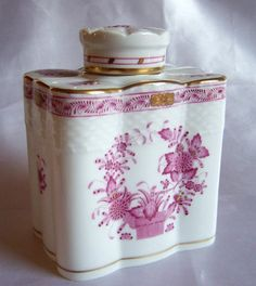 tea caddy in Pottery and Glass Tea Canisters, Tea Tins, Teapots And Cups, Teacups, Tea Strainer, Tea Caddy, Tea Art, My Cup Of Tea, Chocolate Pots