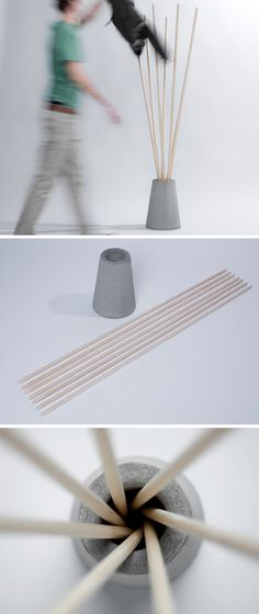 Modern coat rack - bamboo and cement Concrete Wood, Concrete Design, Craft Tutorials, Diy Projects, Papercrete, Beton Diy, Diy Inspiration, Idee Diy, Diy Blog