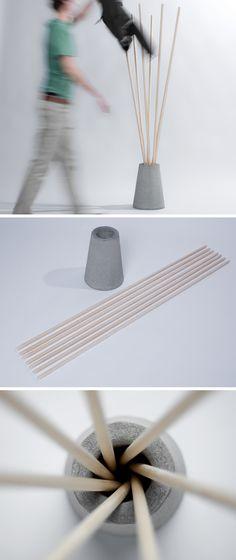 Modern coat rack (easy DIY bamboo+cement block?)