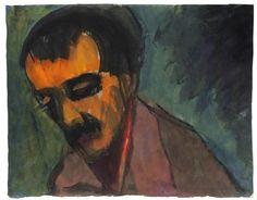 Emil Nolde (German, 1867-1956), Portrait of a dark-haired man in half profile, c.1920-25. Watercolour and ink on paper, 35 x 44.3 cm.