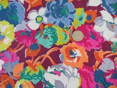 40s - 50s vintage floral print silk or rayon fabric, bright flowers print