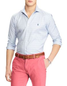 Polo Ralph Lauren - Classic-Fit Easy Care Cotton Button-Down Shirt Camisa Ralph Lauren, Polo Ralph Lauren, Ralph Lauren Looks, Workout Shirts, Casual Button Down Shirts, Cotton Fabric, Plaid, Shirt Dress, Classic