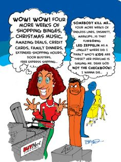 christmas shopping | Holiday Shopping Man Vs. Woman Cartoon