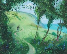 NICHOLAS HELY HUTCHINSON  On the Path Up to Ballard Down Oil on board 15 x 12 ins