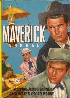 Here's a look at the final Maverick annual in my Kellection. It's probably the nicest one, too: Bart is finally joined by brothe. Vintage Comic Books, Vintage Tv, Vintage Comics, Maverick Tv, Jack Kelly, Tv Westerns, Roger Moore, Old Tv Shows, The Old Days