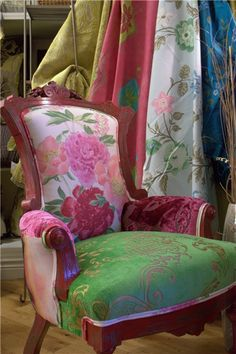 Love a combo of fabrics for one chair