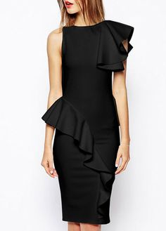 Glamorous Ruffle Decorated Round Neck Knee Length Dress Black