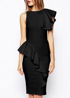 Glamorous Ruffle Decorated Round Neck Knee Length Dress Black