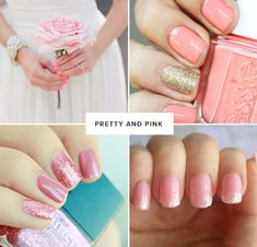 Pretty and pink: If pink flowers and sparkles are your thing, why not give your manicure a playfully chic spin by incorporating glitter polish? A few of my favorite glittery polishes include Butter London Rosie Lee (pictured above), Deborah Lippmann Boom Boom Pow (a wonderful gold), and Essie Beyond Cozy (an amazing muted gold, almost silver color). To temper the glitter, try polishing the glitter onto every other nail.