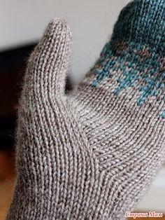 вязание варежки с клином для большого