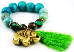 Ella the elephant bracelet by Brand Corazon Jewelry in brass, mosaic turquoise quartz, amazonite and turquoise beads with a green silk tassel