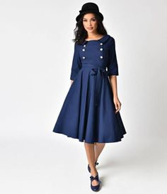 1940s Style Navy Blue Stretch Sleeved Button Swing Dress