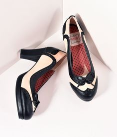 Vintage Style Shoes, Vintage Inspired Shoes Bettie Page 1940s Style Black Ivory Spectator Trice Pumps Shoes $71.00 AT vintagedancer.com