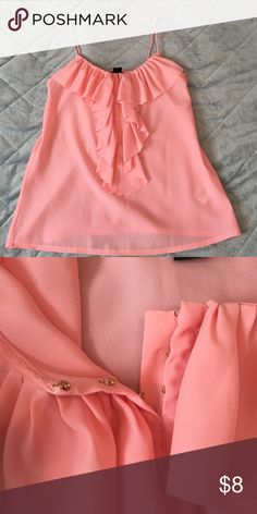 Flirty Pink Top Ruffles on front. Has 3 hooks on bust. H&M Tops Blouses
