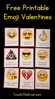 Emojis are all the rage these days. These free printable emoji Valentines are sure to please your children and their friends! Printable Valentines Day Cards, Valentine Box, Valentines For Kids, Valentine Day Crafts, Valentine Emoji, Homemade Valentines, Valentine Wreath, Valentine Ideas, Funny Valentine
