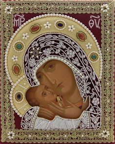Hand Painted Icon of the Mother of God of Korsun in a textile oklad - St…