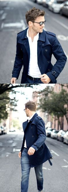 The right trench will add a cool factor to any look. Navy trench with your favorite jeans and white shirt for an effortlessly dapper look Fashion Mode, Mens Fashion, Fashion Outfits, Street Fashion, Urban Fashion, Look Man, Mens Flannel Shirt, Denim Shirts, White Shirts