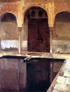 Patio de los Arrayanes en la Alhambra de Granada - Joaquín Sorolla