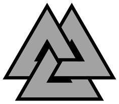 Valknut: Hrungnir's heart, heart of the slain, Heart of Vala, borromean triangles Has been found on stone carvings as a funerary motif, where it probably signified the afterlife. The emblem is often found in art depicting the God Odin, where it may represent the gods power over death. The valknut can be drawn unicursally (in one stroke), making it a popular talisman of protection against spirits.