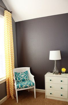 "Teal and gold with dark walls.""  ""Colors and the chevron curtains but in grey & cream""  ""I like the wall color and contrast"""