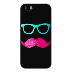 iPhone 6 Plus/6/5/5s/5c Case - Funny Pink mustache teal hipster... ($35) ❤ liked on Polyvore