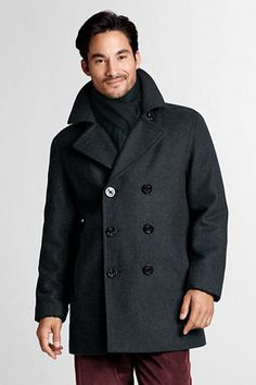 The perfect coat for the perfect guy: Men's Wool Pea Coat from Lands' End ($189-209)  #WishPinWin