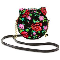 Luv Betsey Black Floral Cat Crossbody (2.955 RUB) ❤ liked on Polyvore featuring bags, handbags, shoulder bags, black floral, black quilted purse, black cross body purse, quilted crossbody, black handbags and black crossbody purse