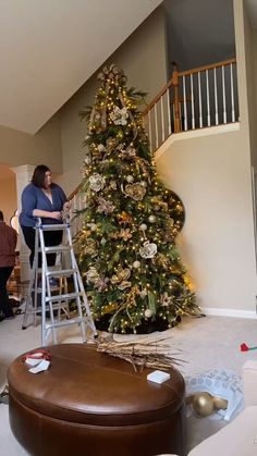 Decorating a 12 foot Christmas Tree: Time Lapse Decorating my magnolia themed Christmas tree - 5 hou