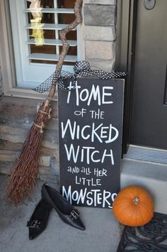 Home of the wicked witch and all her little monsters.... Creepy Halloween, Vintage Halloween, Rustic Halloween, Cute Halloween Costumes, Halloween Ideas, Happy Halloween, Front Porch Signs, Halloween Porch Decorations, Holiday Decorations