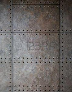 Steel Metal Armour Background With Rivets Stock Photo, Picture And Royalty Free Image. Industrial Door, Industrial Interiors, Industrial Bathroom, Industrial Chic, Industrial Furniture, Industrial Closet, Industrial Restaurant, Industrial Apartment, Industrial Living