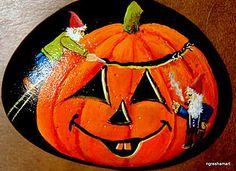 gnomes, pumpkin, halloween decor,handpainted rocks,rock art