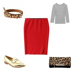 5 ways to style a red pencil skirt - coffee date