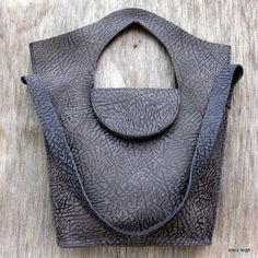RESERVED for EbonySea Bullhide Leather Tote Bag in Charcoal Smoky Blue by Stacy Leigh Ready to Ship