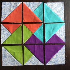 Learn how to sew the card trick quilt block! It looks like an optical illusion, but it's made up of simple half- and quarter-square triangle units.