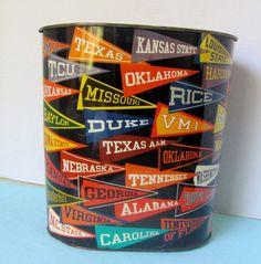 Vintage Tin Litho College Pennant Waste Basket, Trash Can, Bucket. $28.50, via Etsy.