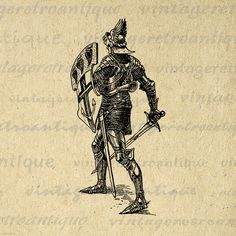 Digital Graphic Medieval Knight Printable Armor Sword Shield