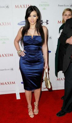 Kim Kardashian wearing Nicole Miller Collection Stretch Satin Bustier Dress Jimmy Choo Lance Mirrored Sandals. Kim Kardashian Maxim Super Bowl Party February 01 2008.