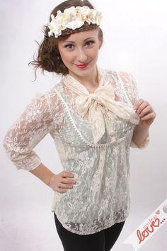 """Bluse """"Lola""""-Creme Blüten Spitze von mydearlove® - shop auf DaWanda.com"""