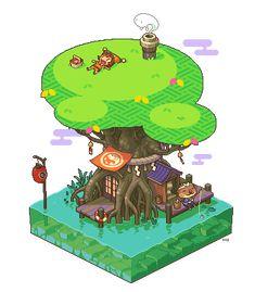 Pixel Art Diorama's Pixel Artist: cocefi Source: pixeljoint.com (Treasure / Fishing Spot / Bookkeeper's Garden)